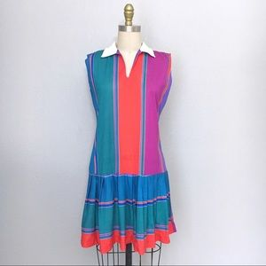 Vintage striped collared drop waist dress